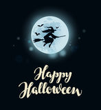 Happy Halloween. Full moon, witch flying on broomstick Stock Images