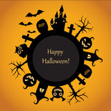 Happy Halloween fun. Orange background with black symbols of Halloween Stock Photos