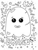 Happy Halloween funny ghost illustration on a white background. Happy Halloween funny ghost illustration royalty free illustration