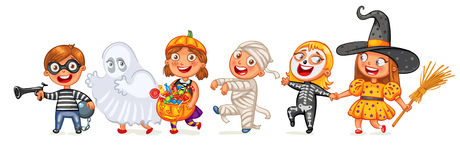 Happy Halloween. Funny little children in colorful costumes. Robber, ghost, mummy, skeleton, witch. Cartoon character. Vector illustration.  on white Royalty Free Stock Photo