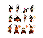Happy Halloween. Funny little children in colorful costumes Royalty Free Stock Image