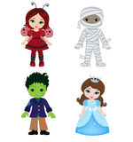 Happy Halloween. Funny little children in colorful costumes. Royalty Free Stock Images