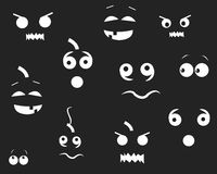 Happy Halloween funny pumpins eyes in the dark. Party background and greeting card vector Stock Photos