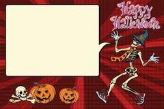 Happy Halloween funny skeleton invites you to a party Royalty Free Stock Photos
