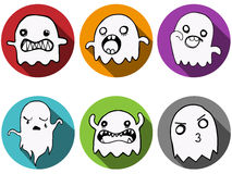 Happy Halloween Ghost Bat Icon Background Stock Photo