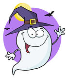 Happy halloween ghost flying in night Royalty Free Stock Image