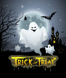 Happy Halloween ghost and message trick or treat design Royalty Free Stock Photos