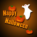 Happy Halloween. With a ghost and Pumkins tipping over the words royalty free illustration