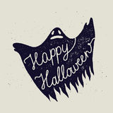Happy halloween ghost sign. Rusty stamp Stock Photo