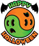 Happy Halloween Ghost Yin-Yang. Yin-Yang symbol made from two spooky scared ghosts in green and orange with Happy Halloween text royalty free illustration