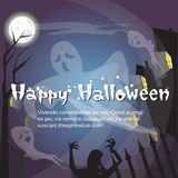 Happy Halloween Ghosts House Card Banner Stock Photography