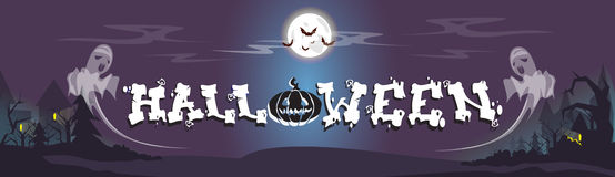 Happy Halloween Ghosts House Card Banner Royalty Free Stock Images