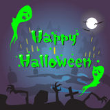 Happy Halloween Ghosts House Cemetery Graveyard Card Banner Stock Photo