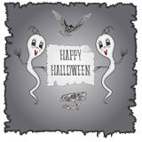 Happy Halloween ghosts and owl vector Royalty Free Stock Photos