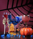 Happy Halloween ghoulish party cocktail drinks - vertical. Royalty Free Stock Images
