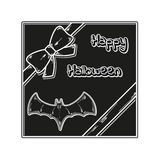 Happy halloween gift card. With ribbon and bat, vector Stock Photos