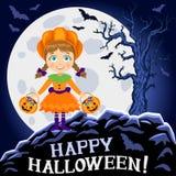 Happy Halloween. Girl in halloween costume. Pumpkin girl Royalty Free Stock Photography