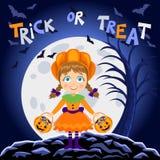Happy Halloween. Girl in halloween costume. Pumpkin girl Stock Image
