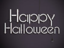 Happy halloween glowing neon text 3d illustration Royalty Free Stock Images