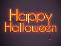 Happy halloween glowing neon text 3d illustration Stock Images