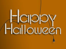 Happy halloween glowing neon text 3d illustration Stock Photography
