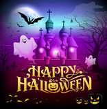 Happy halloween gold lettering, castle with ghosts Royalty Free Stock Image