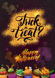 Happy Halloween Gold Sparkles Background with Cupcakes. Calligraphy Poster for your Party Stock Photography