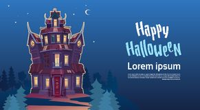 Happy Halloween Gothic Castle With Ghosts In Moonlight Holiday Greeting Card Concept. Flat Vector Illustration Royalty Free Stock Photo