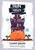 Happy Halloween Gothic Castle With Ghosts And Pumpkin Holiday Greeting Card Concept Royalty Free Stock Images