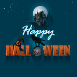 Happy Halloween, graphic background with castle silhouette Stock Photos