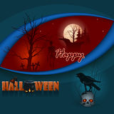 Happy Halloween, graphic background with graveyard scene and a skull wearing a raven on top. Happy Halloween, graphic background with graveyard scene in the full Stock Image