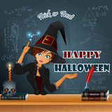Happy Halloween, graphic background with a witch making magic and books for magicians Stock Photography