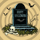 Happy Halloween grave tombstone cemetery skull and bones Stock Image