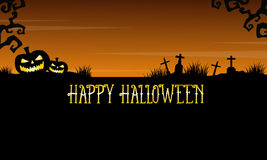 Happy Halloween graveyard landscape background Royalty Free Stock Images