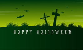 Happy Halloween graveyard scary landscape Stock Images