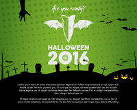 Happy Halloween 2016 green landscape poster. Are you ready lettering and halloween holiday symbols - bat, pumpkin, hand Stock Image