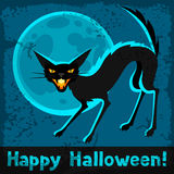Happy halloween greeting card with angry cat Royalty Free Stock Photography