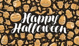 Happy Halloween, greeting card or banner. Holiday, festival, celebration concept. Lettering vector illustration. Happy Halloween, greeting card or banner Stock Photo