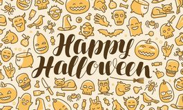 Happy Halloween, greeting card or banner. Holiday, festival, party concept. Lettering vector illustration. Happy Halloween, greeting card or banner. Holiday Royalty Free Stock Photos