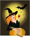 Happy Halloween greeting card with beautiful witch Royalty Free Stock Image