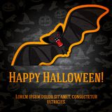 Happy halloween greeting card with black bat Royalty Free Stock Images
