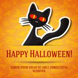 Happy halloween greeting card with black cat Royalty Free Stock Image
