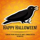 Happy halloween greeting card with black raven Royalty Free Stock Photo