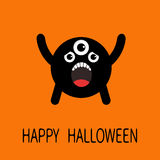 Happy Halloween greeting card. Black screaming silhouette monster with eyes, teeth, tongue. Funny Cute cartoon character. Baby col Stock Images