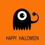Happy Halloween greeting card. Black silhouette monster with big eye and tail. Funny Cute cartoon character. Baby collection. Flat Royalty Free Stock Photography