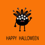 Happy Halloween greeting card. Black silhouette monster with ears, fang tooth. Funny Cute cartoon character. Baby collection. Flat Royalty Free Stock Image