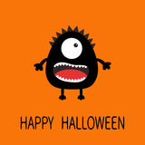 Happy Halloween greeting card. Black silhouette monster with one eye, teeth, tongue. Funny Cute cartoon character. Baby collection Royalty Free Stock Image