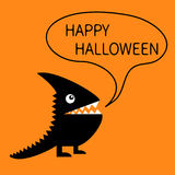 Happy Halloween greeting card. Black silhouette monster with sharp tail, horn, fang tooth, eye. Talking thinking bubble Royalty Free Stock Photo