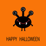 Happy Halloween greeting card. Black silhouette monster with thre eyes, teeth fang. Funny Cute cartoon character. Baby collection. Stock Photos