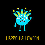 Happy Halloween greeting card. Blue monster with ears, fang tooth. Funny Cute cartoon character. Baby collection. Flat design.  Stock Photos